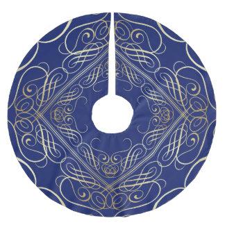 Jupon De Sapin En Polyester Brossé Bleu en filigrane de Scrollwork de sembler élégant