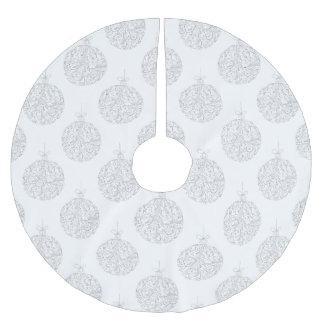 Jupon De Sapin En Polyester Brossé Boules argentées - jupe d'arbre de Noël
