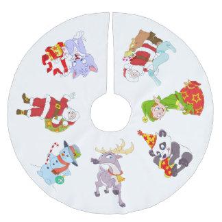 Jupon De Sapin En Polyester Brossé Caractères de Noël pour des enfants