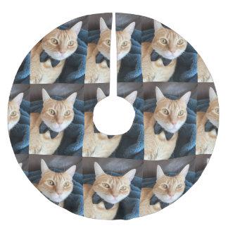 Jupon De Sapin En Polyester Brossé Chat tigré avec la cravate d'arc