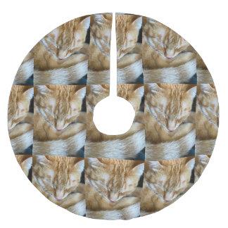 Jupon De Sapin En Polyester Brossé Chat tigré orange de sommeil