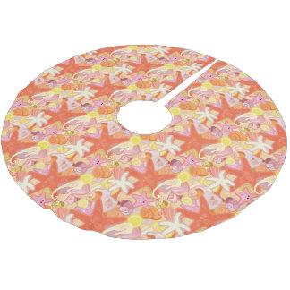 Jupon De Sapin En Polyester Brossé Créatures en pastel de mer de monogramme