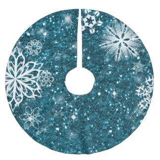 Jupon De Sapin En Polyester Brossé Flocons de neige sur la turquoise ID454 de parties