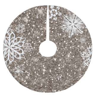 Jupon De Sapin En Polyester Brossé Flocons de neige sur le bronze ID454 de parties