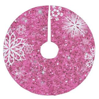 Jupon De Sapin En Polyester Brossé Flocons de neige sur le rose ID454 de parties