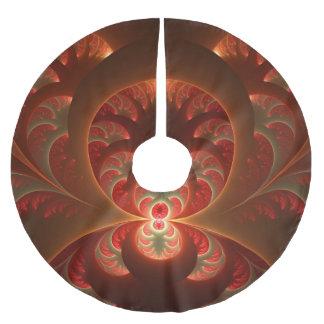 Jupon De Sapin En Polyester Brossé Fractale moderne abstraite lumineuse de rouge