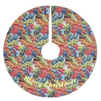 Jupon De Sapin En Polyester Brossé Jupe colorée d'arbre de Noël de conception de