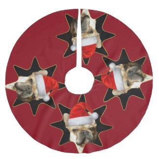 Jupon De Sapin En Polyester Brossé Jupe d'arbre de chien de bouledogue français de