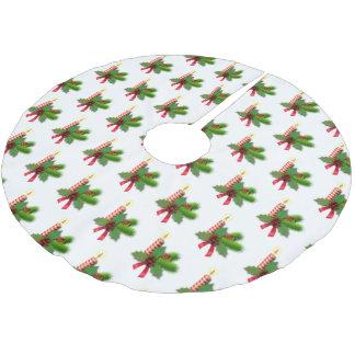 Jupon De Sapin En Polyester Brossé Jupe d'arbre de feuille et de baies de houx
