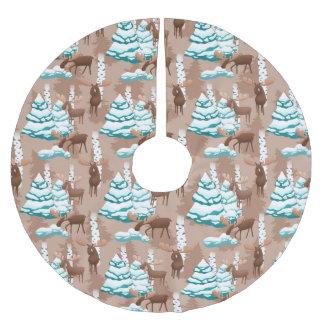Jupon De Sapin En Polyester Brossé Jupe d'arbre de motif de vacances d'orignaux de