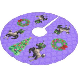 """Jupon De Sapin En Polyester Brossé jupe d'arbre """"de Noël à 8 bits"""" (pourpre)"""