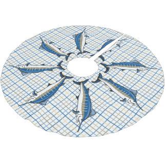 Jupon De Sapin En Polyester Brossé Jupe d'arbre - Marlin bleu sur le plaid