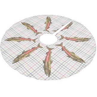 Jupon De Sapin En Polyester Brossé Jupe d'arbre - saumon chinook sur le plaid