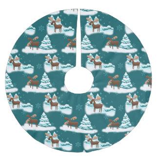 Jupon De Sapin En Polyester Brossé Jupe saisonnière d'arbre de vacances d'orignaux