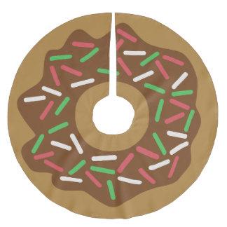 Jupon De Sapin En Polyester Brossé Le vert rouge de beignet de Noël de Kawaii arrose