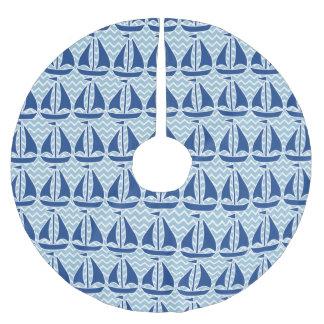 Jupon De Sapin En Polyester Brossé Motif fait sur commande de Chevron de voilier bleu