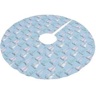 Jupon De Sapin En Polyester Brossé Motif mignon de voilier de monogramme