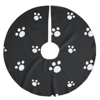 Jupon De Sapin En Polyester Brossé Motif mignon noir et blanc d'empreinte de patte de
