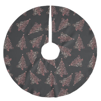 Jupon De Sapin En Polyester Brossé Motif rose moderne élégant d'arbre de Noël d'or