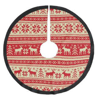 Jupon De Sapin En Polyester Brossé Motif tricoté par Noël de renne