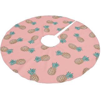 Jupon De Sapin En Polyester Brossé motif tropical d'ananas d'or de faux d'été mignon