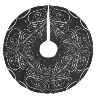 Jupon De Sapin En Polyester Brossé Noir en filigrane de Scrollwork de sembler élégant