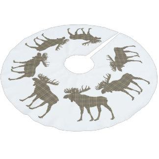 Jupon De Sapin En Polyester Brossé Orignaux de plaid de brun de Noël de jupe d'arbre