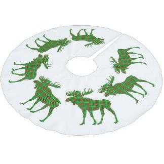 Jupon De Sapin En Polyester Brossé Orignaux de tartan de Terre-Neuve de Noël de jupe