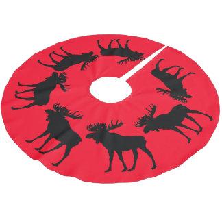 Jupon De Sapin En Polyester Brossé orignaux rouges de Noël de jupe d'arbre