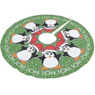 Jupon De Sapin En Polyester Brossé Pingouins de Noël Ho ! HO ! Ho !