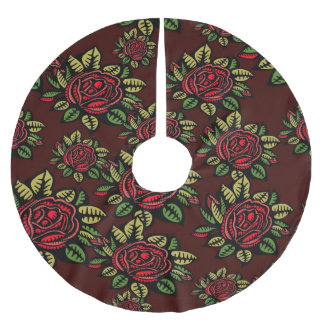Jupon De Sapin En Polyester Brossé Roses rouges de Noël de jupe d'arbre rétros chics