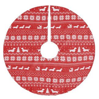 Jupon De Sapin En Polyester Brossé Rouge de motif de chandail de Noël de teckels