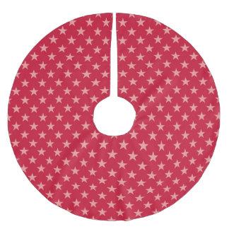 Jupon De Sapin En Polyester Brossé Rouge sur des étoiles de rouge - jupe d'arbre de