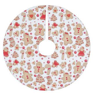 Jupon De Sapin En Polyester Brossé Vacances de Noël de biscuits de bonhomme en pain