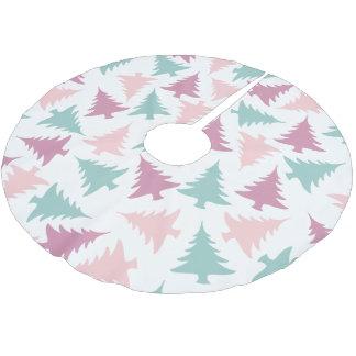 Jupon De Sapin En Polyester Brossé Vert pourpre de rose en pastel de motif d'arbre de