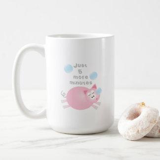 Juste cinq plus minute le porc somnolent mignon mug