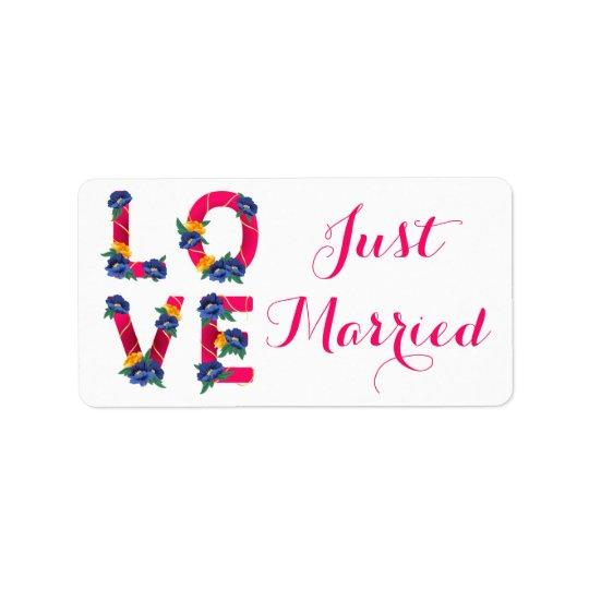 Juste faire-part marié floral rose de mariage étiquettes d'adresse