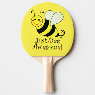 Juste le jaune impressionnant d'abeille gaffent raquette de ping pong