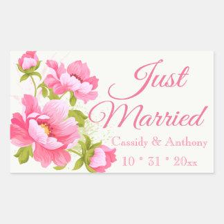 Juste mariage rose marié floral de fleur de sticker rectangulaire