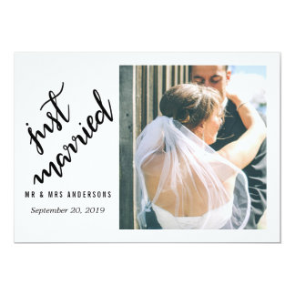 Juste photo manuscrite mariée moderne de mariage carton d'invitation  12,7 cm x 17,78 cm