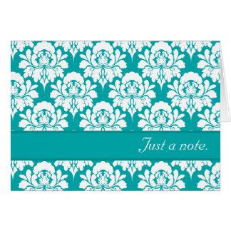 Juste une copie de damassé de turquoise de note carte de correspondance