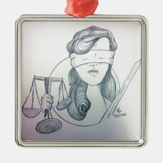 Justice Ornement Carré Argenté