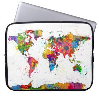 Kaart van de Waterverf van de Kaart van de Wereld Computer Sleeve