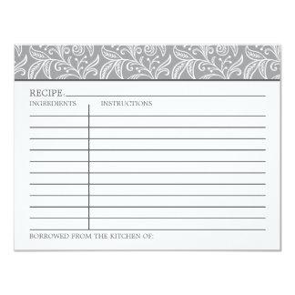Kaart | van het recept Grijze en Witte Kleuren 10,8x13,9 Uitnodiging Kaart