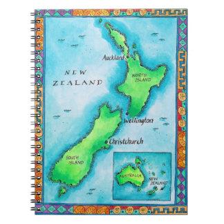 Kaart van Nieuw Zeeland Ringband Notitieboek