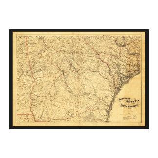 Kaart van Zuidelijk Georgië en een deel van Canvas Afdruk