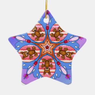 Kaléidoscope des ours et des abeilles ornement étoile en céramique