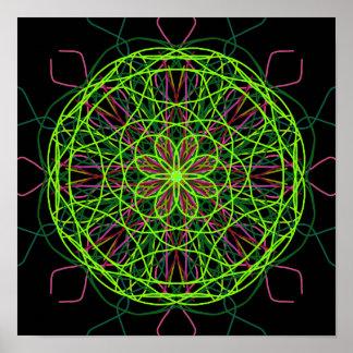 Kaléidoscope noir rose vert d'art abstrait