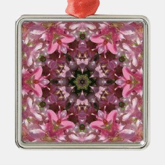 Kaléidoscope rose de fusion de lis ornement carré argenté