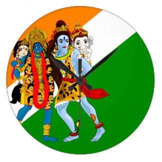 Kali et Shiva avec des enfants Grande Horloge Ronde